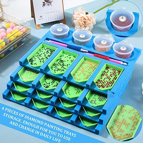 4 Pieces Diamond Paining Trays Storage Painting Drill Tray Organizer Diamond Painting Tool Accessories Multi-Boat Holder for Adults DIY Painting Crafts (Blue)