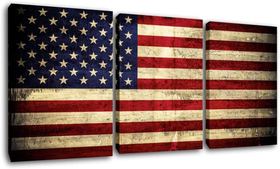 American Flag Retro Paintings Red Blue Stripes Pictures for Living Room Patriotic Artwork 3 Panel Prints Wall Art on Canvas Modern Home Decorations Framed Gallery-Wrapped Ready to Hang(42''Wx20''H)