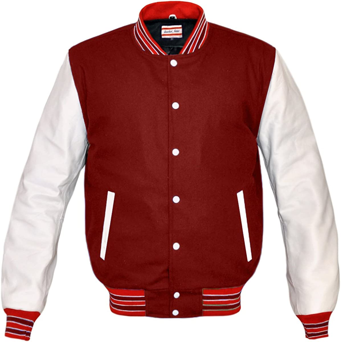 Superb Genuine White Leather Sleeve Letterman College Varsity Men Wool Jackets
