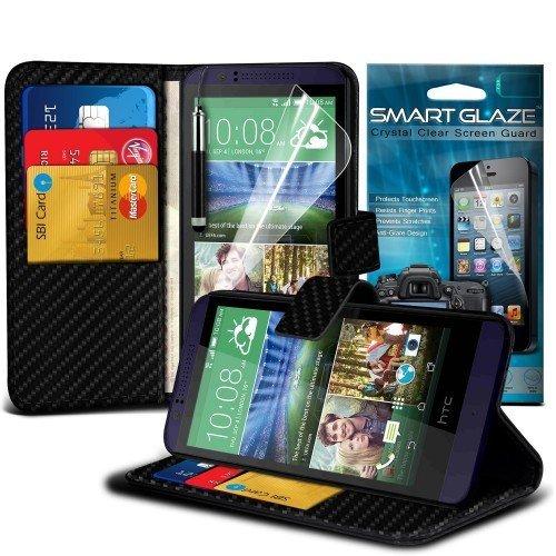 HTC Desire 510 Carbon Cubierta del caso con cuero (Negro) Plus de regalo libre, Protector de pantalla y un lápiz óptico, Solicitar ahora mejor caja del teléfono Valorado en Amazon! By FinestPhoneCases