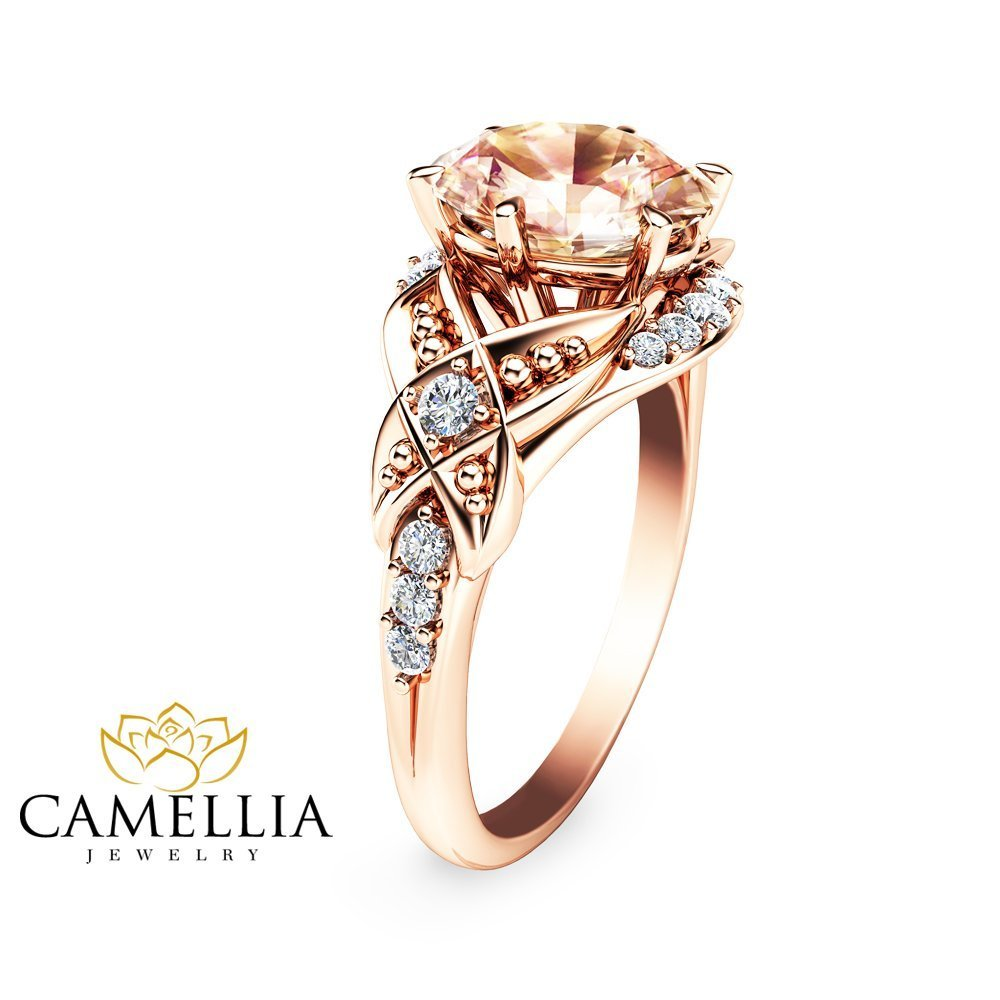 fullxfull cut engagement unique il rose morganite gold moissanite ring rings camellia round gemstone karat stacking halo diamond snyi