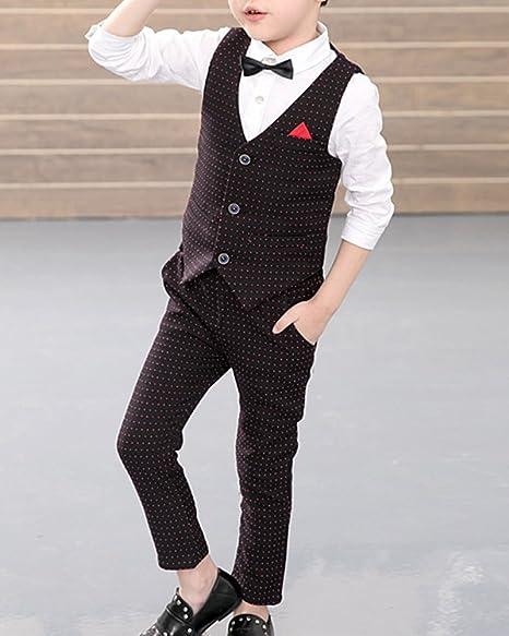Quge Ragazzi Del Vestito Cerimonia Gilet Pantaloni 3 Pezzi Completino Elegante Camicia
