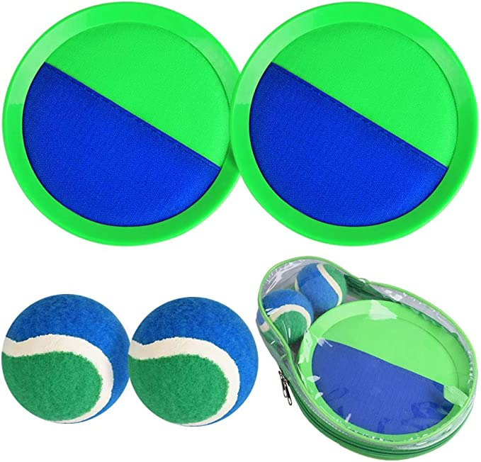 Fun Outdoor Toys Set with 6 Paddles Backyard Ball Throw Sports Game 8 Inch Sticky Mitt Paddle Rackets for Kids /& Adults 6 Balls /& 1 Storage Bag Critical Velcro Ball Toss and Catch Game