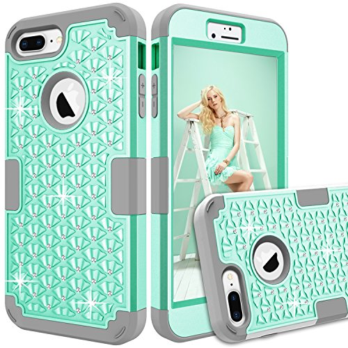 iPhone 8 Plus Case, ZAOX Hybrid Heavy Duty Shockproof Diamond Studded Bling Rhinestone Case with Dual Layer [Hard PC Plus Soft Silicone] Impact Protection (Mint - Rhinestones Protector Case Shield