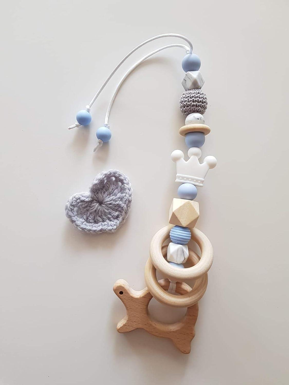 Babyschalenanhä nger aus Silikon mit Holzelementen Kinderwagenanhä nger