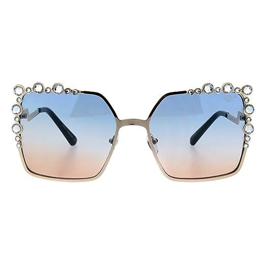 439fb7c0a79 Womens Rhinestone Sunglasses Oversized Square Gold Metal Frame UV 400 Blue  Brown