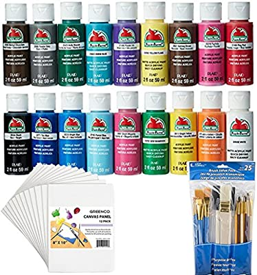 Bundle Includes 3 Items - Apple Barrel Acrylic Paint Set, 18 Piece (2-oz), PROMOABI Best Selling Colors & Loew-Cornell 245B Brush 25 Pack and Greenco Professional Quality Canvas Panel 8x10 in-12 Pack