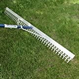Super 4-Ft Wide Heavy Duty Rake with Extendable 16-Ft Long Handle for Seaweed beach screening landscaping raking and more