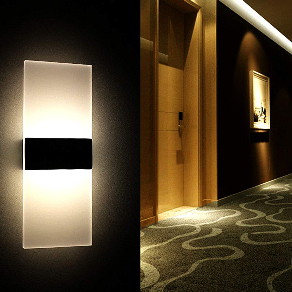 LED Wall Light Up Down 6W Indoor Outdoor Wall Lamp Modern Sconce Decorative Light Fittings Screws for Living Room Bedroom Corridor Hallway White Light 6500K
