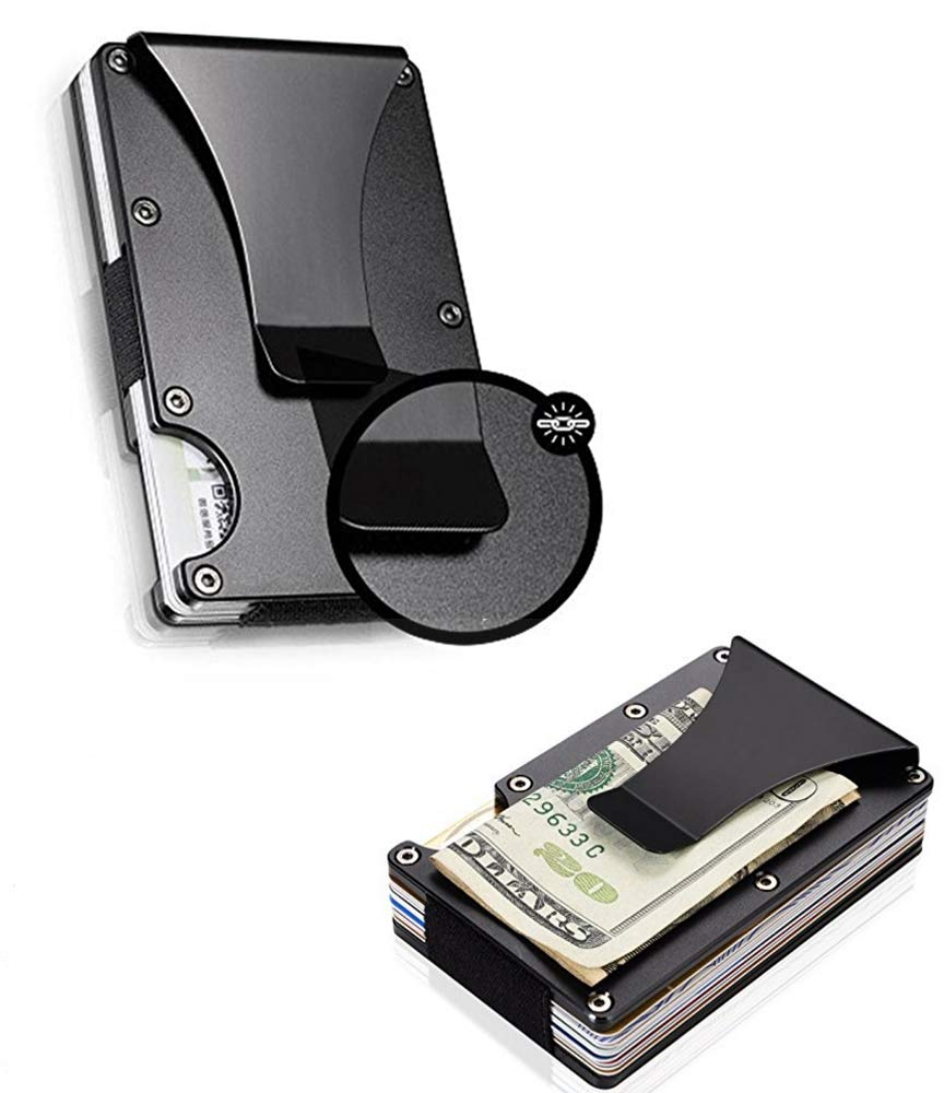 Metal Wallet Kreditkartenhüllen Aviation Aluminium Geldbörse Light Slim Kreditkartenhalter Money Clip mit RFID-Blocking Anti-Dieb Funktion robust & Durable (schwarz) ATIDY