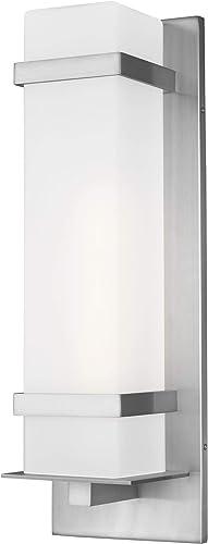 Sea Gull Lighting 8720701EN3-04 Alban Large One Light Outdoor Wall Lantern Outside Fixture, Satin Aluminum