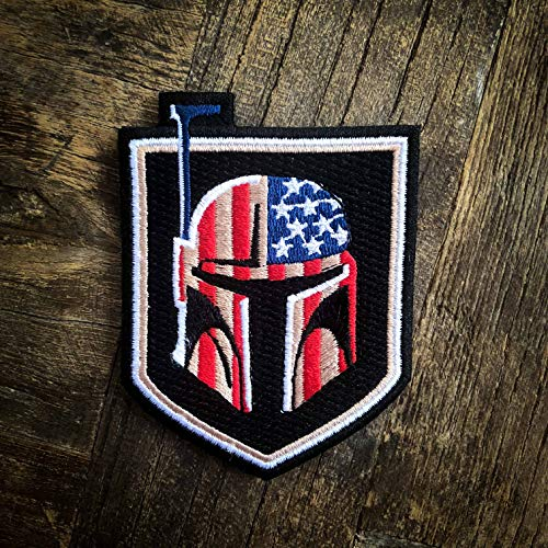 (Boba Fett Bounty Hunter US Flag Star Wars 100% Embroidered Morale Patch - Hook Backed by NEO Tactical)