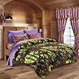 20 Lakes Neon Green Lime & Purple Camo Comforter, Sheet, Pillowcase Set (King, Neon Green - Purple)