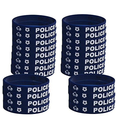 Police Kids' Wristbands (24), Police Chief Wristbands, Party Favors, Police Party Handouts -