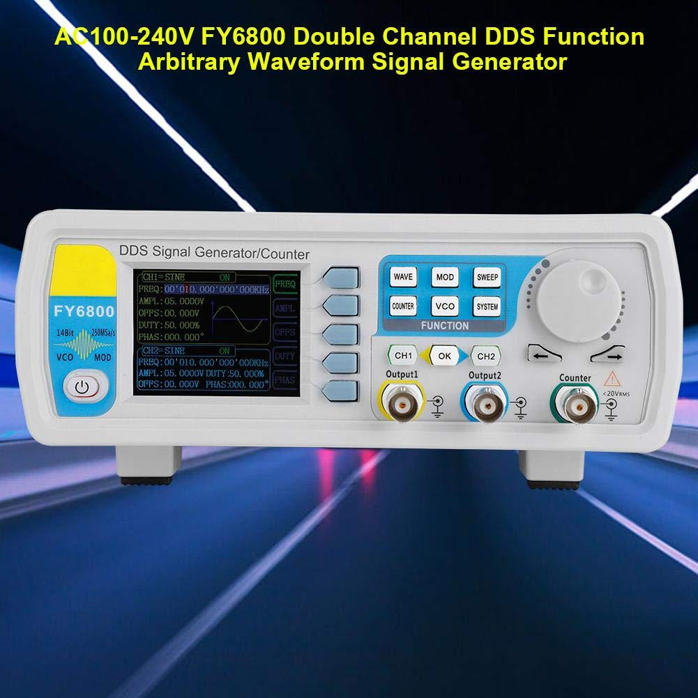 Akozon Function Generator AC100-240V FY6800 Double Channel DDS Function Arbitrary Waveform Signal Generator Sine Square//Triangle//Pulse//Sawtooth Wave//Staircase Wave-30//60MHz 60MHz US Plug