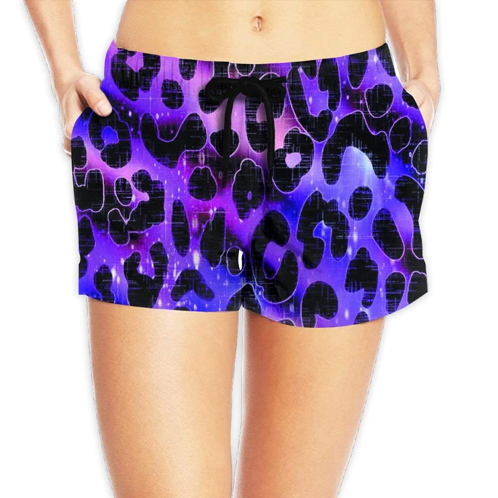 Cheetah Purple Leopard Womens Summer Beach Shorts Running Shorts