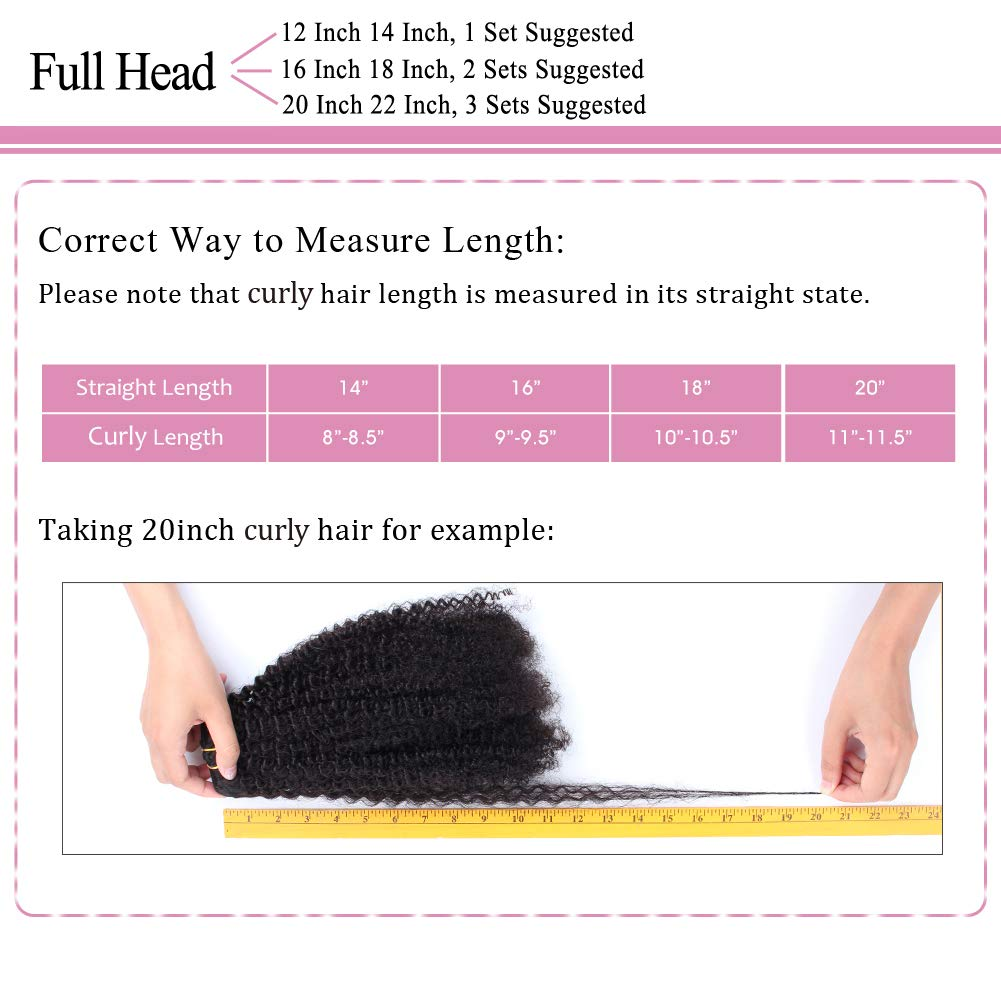 ABH AmazingBeauty Hair 8A Grade Big Thick Real Remy Human 4A 4B Double Wefted Afro Curly Clip In Hair Extensions for African American Black Women, Natural Black, 120 Gram, 16 Inch by ABH AMAZINGBEAUTY HAIR