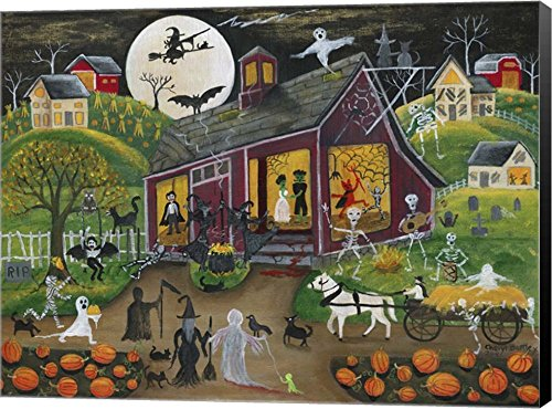 Ho Down Barn Dance Halloween by Cheryl Bartley Canvas Art Wall Picture, Museum Wrapped with