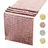 Sequin Table Runners ROSE GOLD- 12 X 108 Inch Glitter ROSE GOLD Table Runner-ROSE GOLD Party Supplies Fabric Decorations For Wedding Birthday Baby Shower