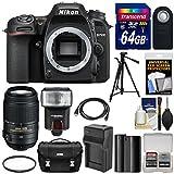 Nikon D7500 Wi-Fi 4K Digital SLR Camera Body with 55-300mm VR Lens + 64GB Card + Battery & Charger + Case + Tripod + Flash + Kit