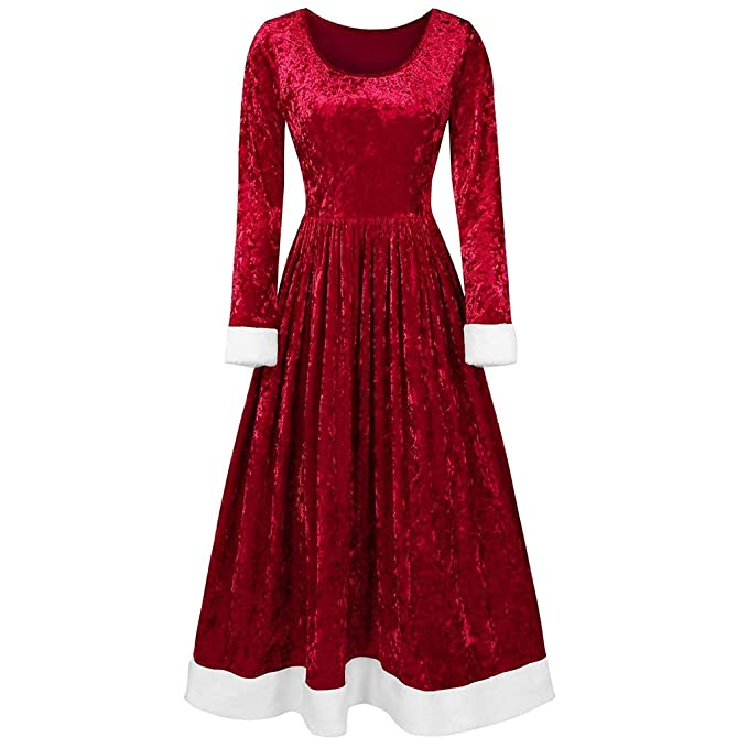 Victorian Dresses | Victorian Ballgowns | Victorian Clothing Lazapa Vintage Dresses for Women 2019 Fashion Large Size Party Eveing Dress Long Sleeve Round Neck Christmas Velvet Skirt Dress Fall Winter Soft Cozy Tunic Dress Christmas Costume $13.66 AT vintagedancer.com