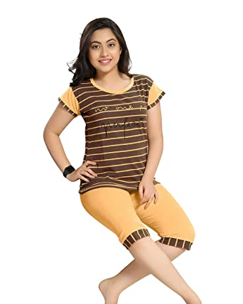 742a8319c1 TWGE Night Suit for Kids - Yellow Top and Capri Set - Printed Tshirt and  Capri Set for ...