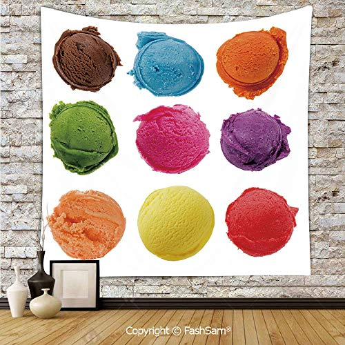 FashSam Polyester Tapestry Wall Ice Cream Toppings with Colorful Various Flavor Yummy Sweet Summer Image Hanging Printed Home Decor(W59xL90)]()