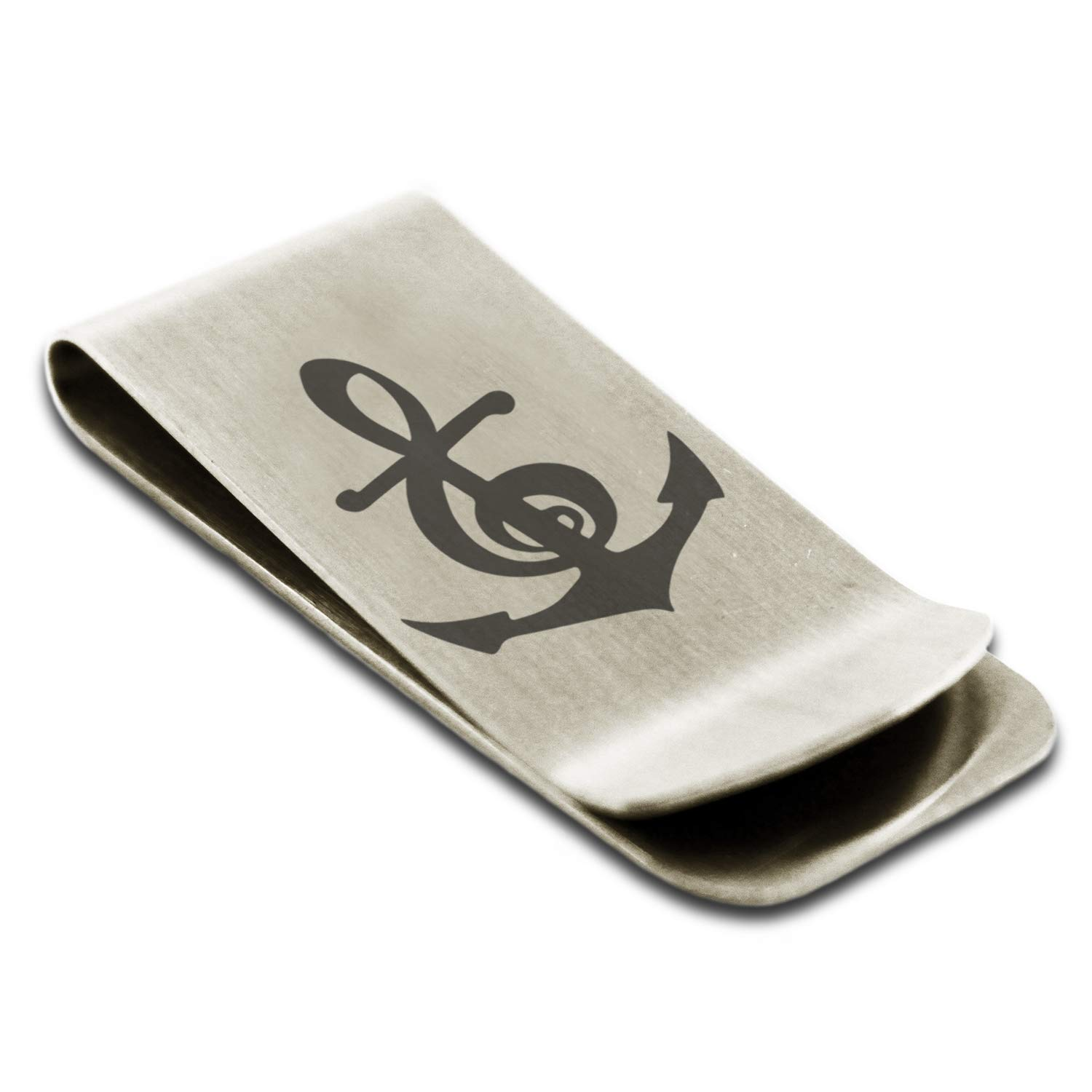 Stainless Steel Nautical Music Is My Anchor Treble Clef Engraved Money Clip Credit Card Holder