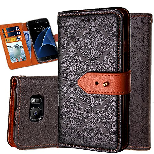 Galaxy S7 Flip Wallet Case,Auker Classic Vintage Folio Leather Full Body Protection Anti-Scratch Purse Case Cover with Cash Card Holder Pocket&Fold Stand for Women/Men for Samsung Galaxy S7 (Black)