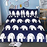 Sleepwish Bedspreads with Elephants 3 Piece Navy Blue and White Bedding Sets Children's Cartoon Duvet Covers Full Size