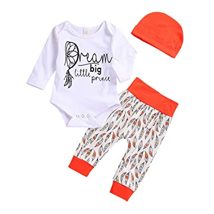 143da5bd7d5d Sikye 3Pcs Newborn Infant Baby Boys Cute Letter Print Bodysuit +Feather  Pants+Hat Clothes