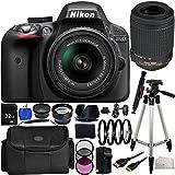 Nikon D3300 Digital SLR Camera - International Version(No Warranty) w/18-55mm VR II Lens + 55-200mm VR Lens Kit + 19PC Bundle 32GB Accessory Kit