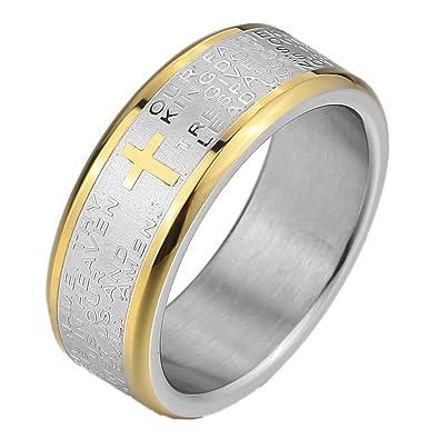 MunkiMix Acero Inoxidable Anillo Ring Banda Venda El Tono De Plata Biblia Señores Oración Cruzar Cruz Hombre