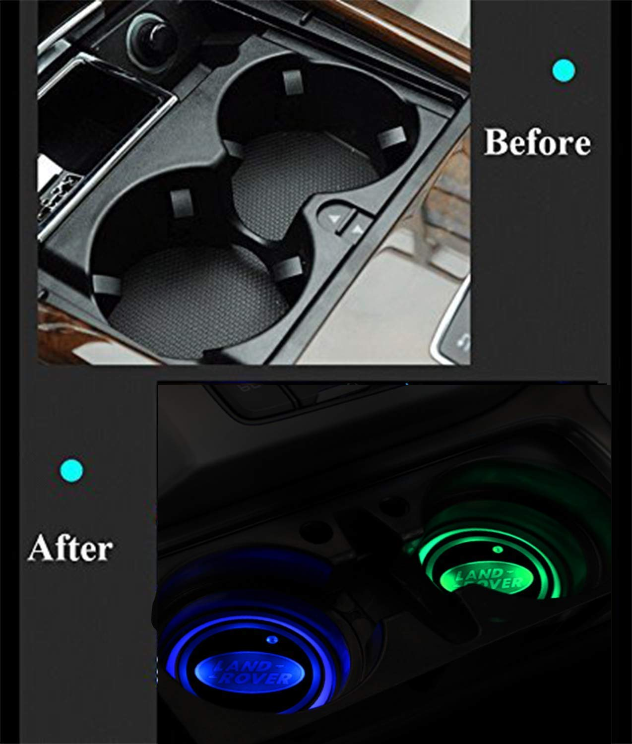 Coolsport Upgraded Ver 2PCS LED Cup Holder Mat Pad Coaster 7 Colors with USB Changing Interior Decoration Light fit Honda
