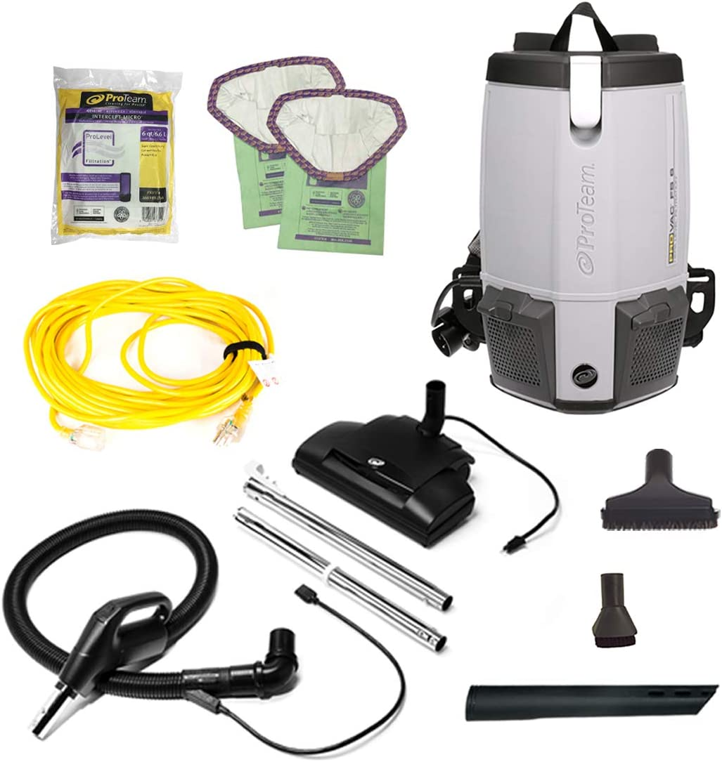 ProTeam W/Electrified Hose Outlet 103224 Cleaner, ProVac FS 6 Vacuum Backpack with HEPA Media Filtration and Commercial Power Nozzle Tool Kit, 6 Quart, Corded