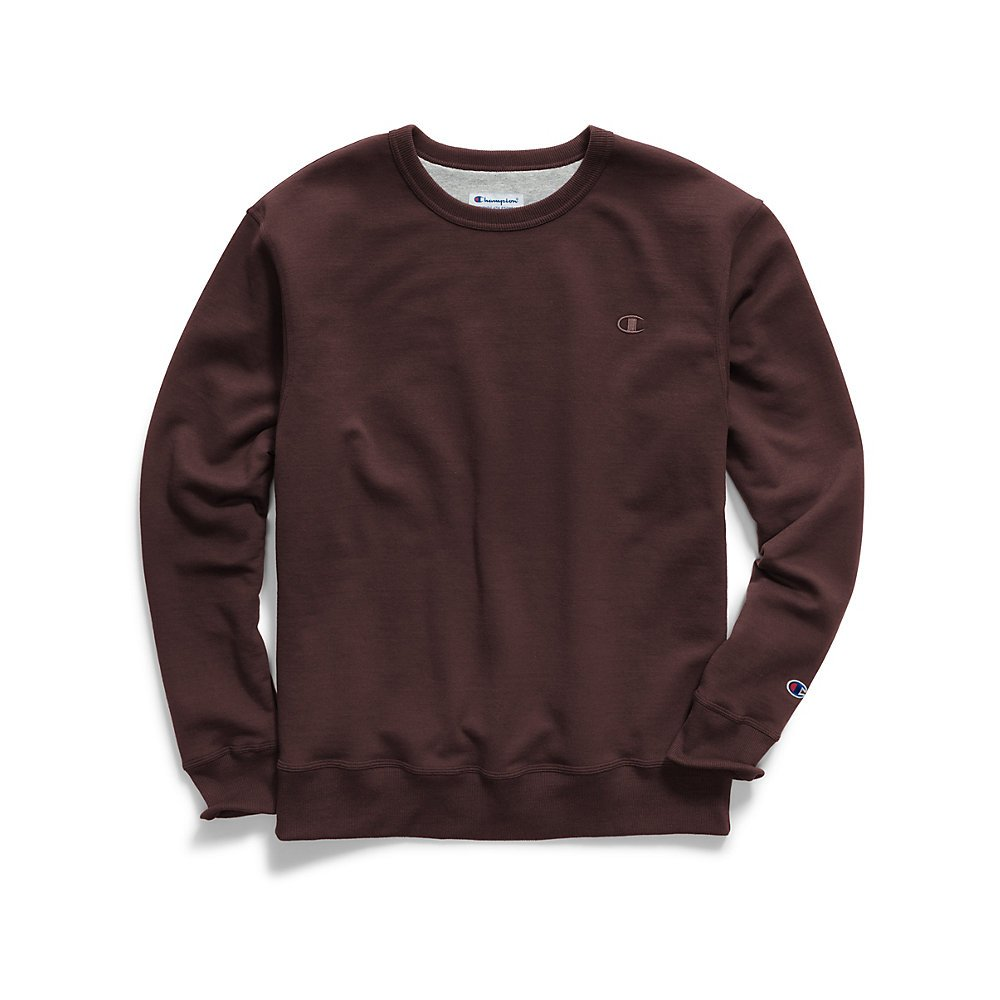 Champion Men's Powerblend Pullover Sweatshirt, Maroon, Small