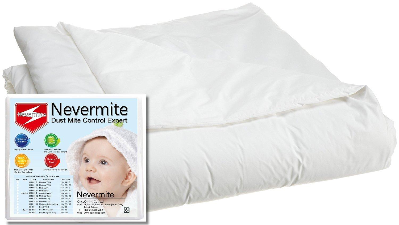 nevermite羽毛布団カバー – ultra-tight通気性ファブリックwith Dust Mite Proof &低刺激性天然エッセンシャルオイル式、ホワイト ツイン ホワイト UB801 B077XW3ZWZ ツイン ツイン