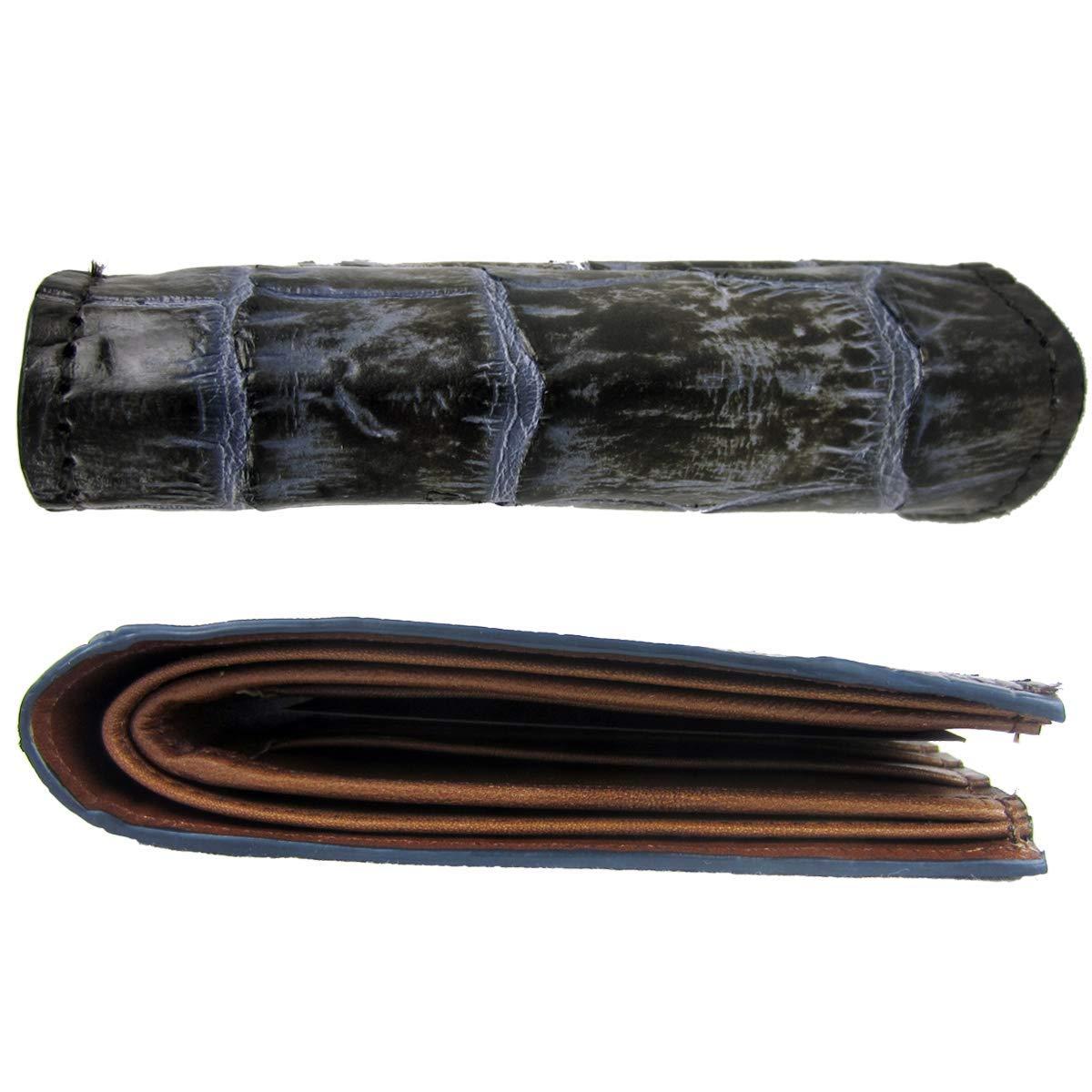 B2690AL Cuadra Exotic Blue Alligator Belly Leather Bifold Wallet DU171