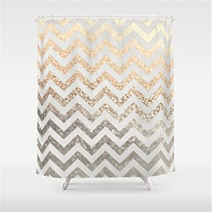 Weeya GOLD SILVER CHEVRON Shower Curtain 60x72 Inch