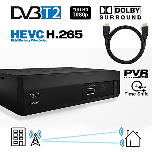 47 opinioni per Crypto ReDi 270PH 1080P Full HD 1080P DVB-T2 HEVC Decoder Digitale Ricevitore