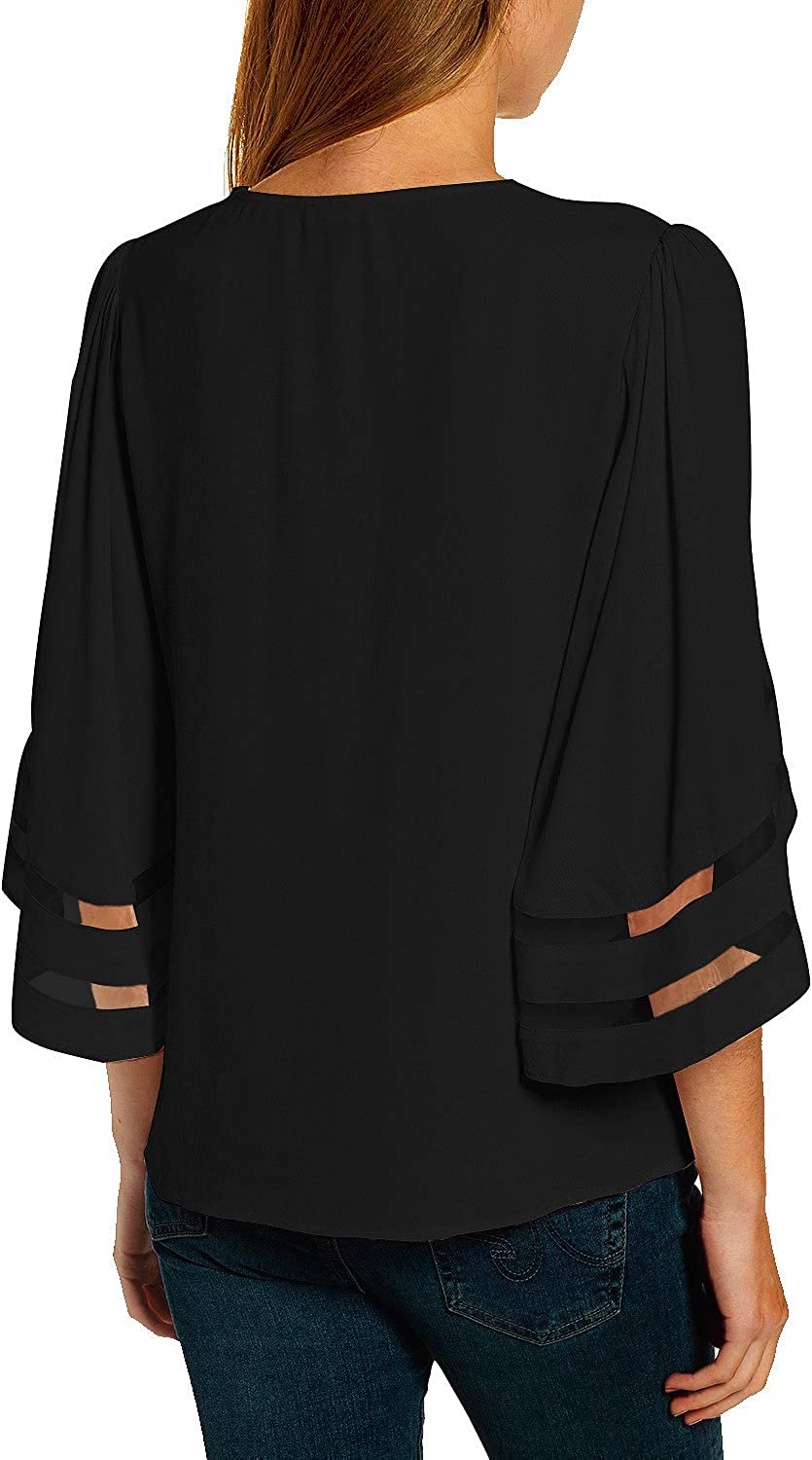 luvamia Women Casual Strappy V Neck Blouse 3//4 Bell Sleeve Mesh Panel Shirts Top