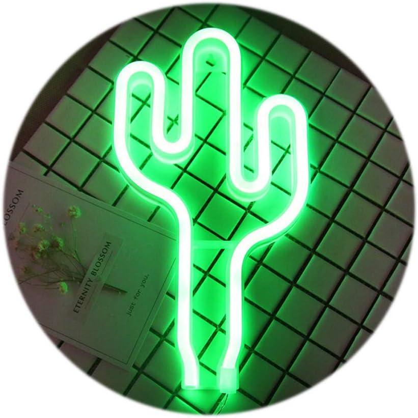 LED verte Cactus Enseignes lumineuses d/écorations USB ou /à piles Neon Night Lights Lampes Art D/écoration murale D/écoration de table Lumi/ères d/écoratives pour la maison Salon de mariage de f/ête danni