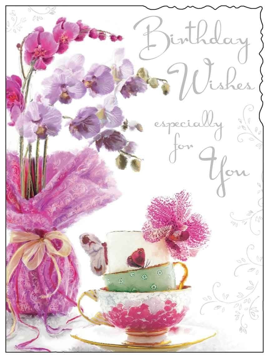 Female Birthday Greetings Card Jj8887 Velvet Flowers Cake