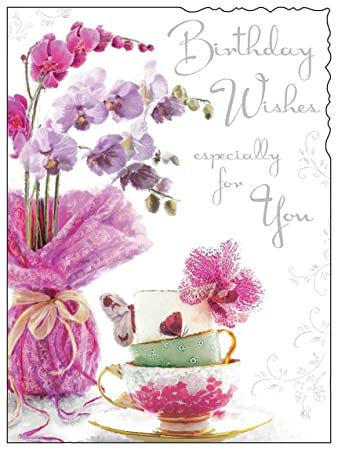 Pink Flowers Birthday Card Jj8856 Amazon Office Products
