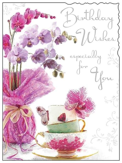Pink Flowers Birthday Card JJ8856