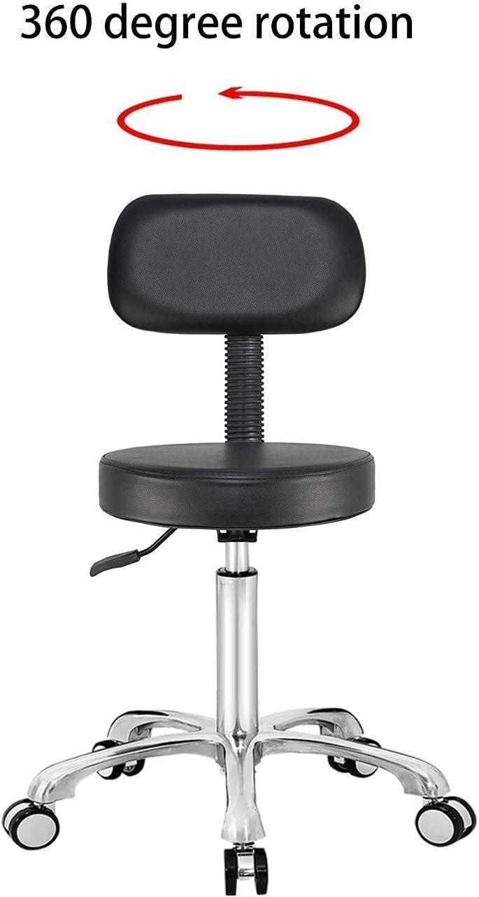 Verstellbarer Zeichnungshocker Arbeitsstuhl f/ür die Ladenk/üche Medical Pedicure Salon Schwarz Antlu Rollhocker Stuhl mit R/ädern und R/ücken