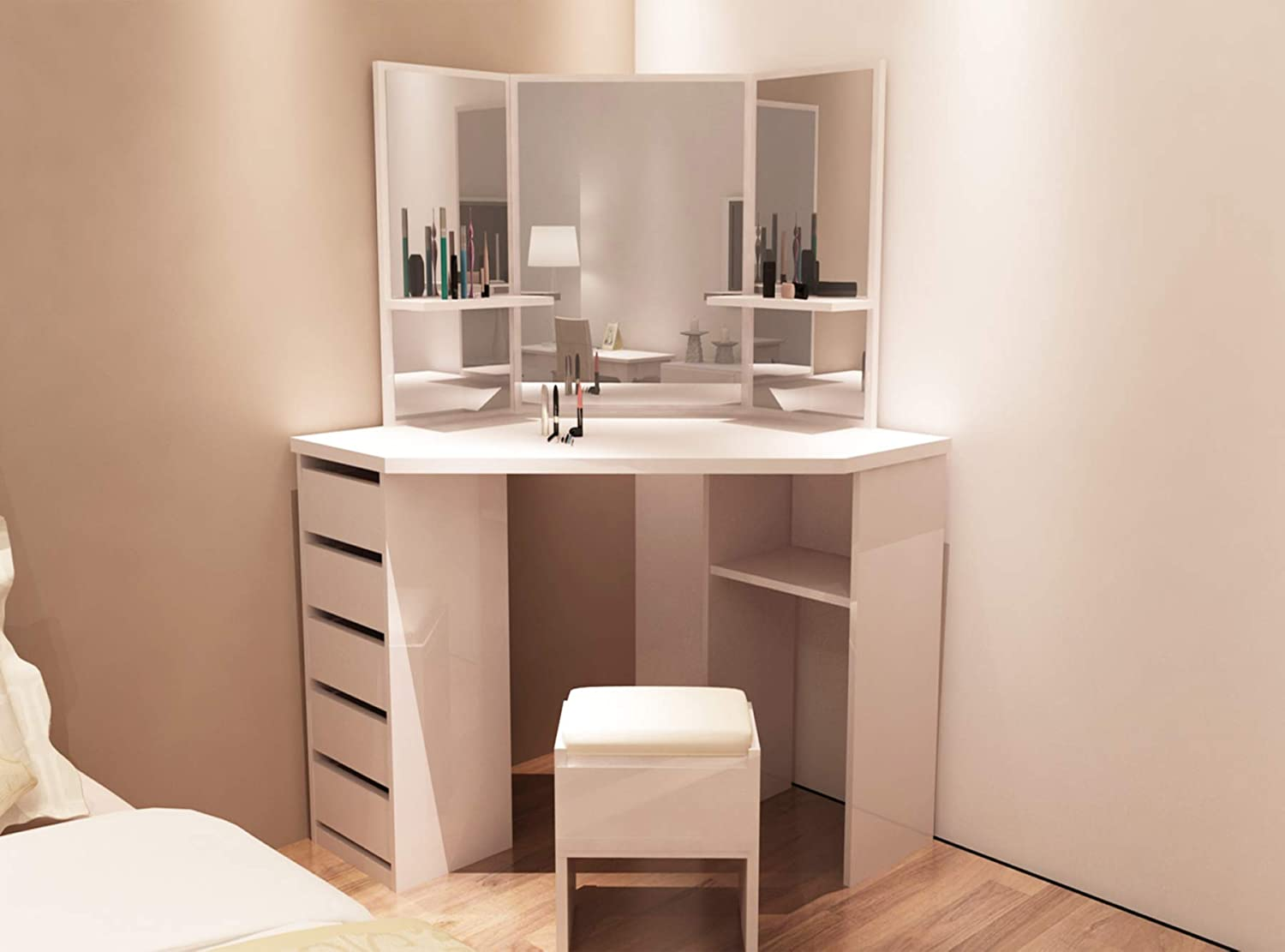 the latest 8e7d6 b05b5 OFCASA White Dressing Table Cosmetic Table with Mirror and Stool Makeup  Desk Set Vanity Storage Bedroom Dressing Room Furniture (3 mirror)