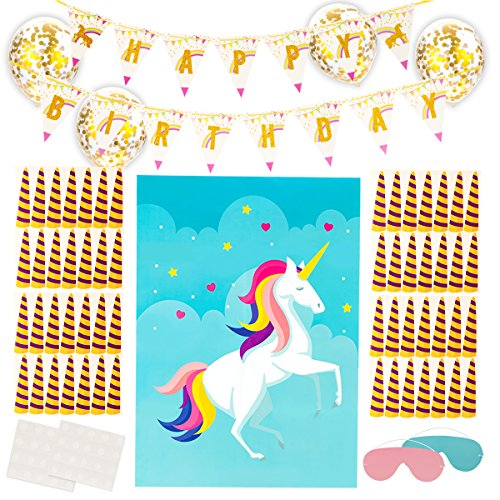 Pin The Horn on The Unicorn Party Game with Unicorn Happy Birthday Banner Pennant and 10PCS Gold Confetti Ballons for Kids Birthday Party Unicorn Supplies Decoration (Horn Confetti Party)
