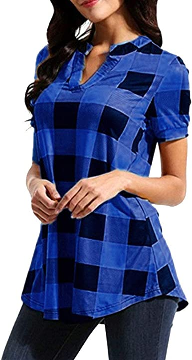 riou Camisa de Manga Corta de Botón de Mujer con Cuello en V Tallas Grandes Cuadros Estampada Camisetas Mujer Verano Elegantes Suelto Verano Tops Casual Fiesta Playa: Amazon.es: Ropa y accesorios