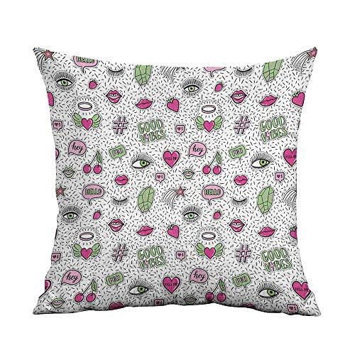 Good Vibes Printed Custom Pillowcase Eighties Nineties Style Pattern Eyes Lip Star Strawberry Cherry Pop Art Decorative Sofa Hug Pillowcase W16 x L24 Inch Pink Green Black